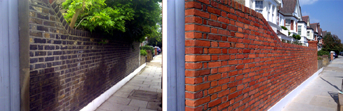 Outside wall repointed and bricks tinted